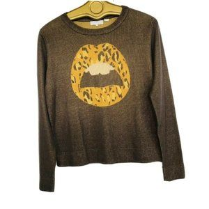Afends Crew Neck Long sleeve sweater brown sz 4